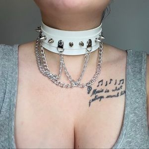 2/$30 White Leather Choker with Chains